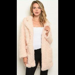 Blush shaggy soft faux fur teddy open fleece coat